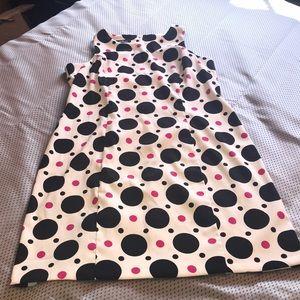 White, Black and Pink Polka Dot Sheath Dress